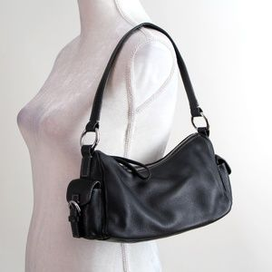 Giani Bernini Black Leather Shoulder Purse Bag